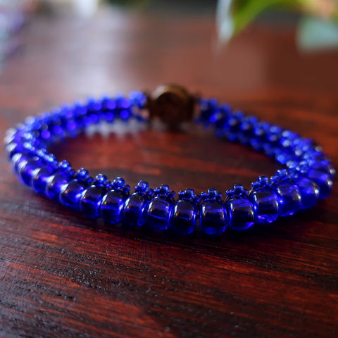 Temple Tree Bohemian Glass Bead Caterpillar Weave Bracelet - Cobalt