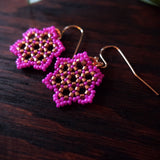 Temple Tree Hexagon Mandala Earrings - Fuchsia and Copper - Tiny