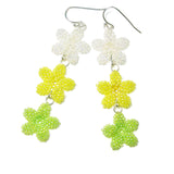 Heart in Hawaii Triple Plumeria Long Dangle Earrings - Crystal, Yellow and Green