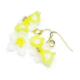 Heart in Hawaii Pua Okiko - Tiny Beaded Orchid Earrings - Crystal Yellow Green and Gold