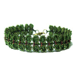 Heart in Hawaii Maile Inspired Beaded Leaf Vine Bracelet - Dark Fern