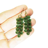 Heart in Hawaii Maile Inspired Beaded Leaf Vine Earrings - Dark Fern