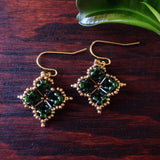 Temple Tree Quatrefoil Mandala Beaded Earrings - Dark Green and Gold