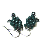 Heart in Hawaii Small Honu Earrings - Beaded Sea Turtle Dangles - Dark Green