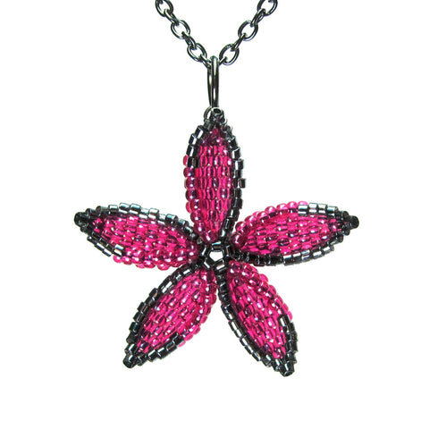 Heart in Hawaii Beaded Pua Pendant with Cable Chain - Hot Pink