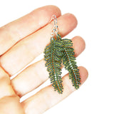 Heart in Hawaii Small Beaded Fern Frond Earrings