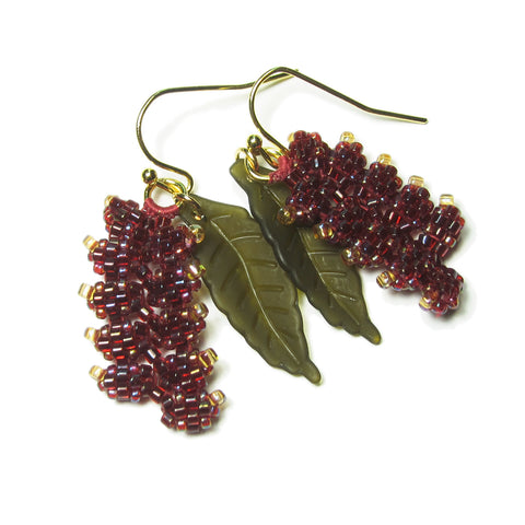 Heart in Hawaii Beaded Heliconia Earrings - Short - Variegated Dark Red