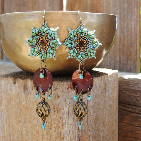 Temple Tree Dharma Wheel Beaded Earrings - Faux Turquoise with Bronze