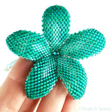 Heart in Hawaii Beaded Plumeria Flower - Emerald Isle