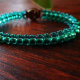 Temple Tree Boho Glass Bead Caterpillar Weave Bracelet - Emerald Green