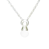 "Frosted Glass Ball and Crescent Moon Kahiko Pendant with 18"" Cable Chain"