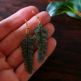 Heart in Hawaii Small Beaded Fern Frond Earrings - forest green