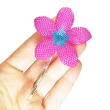 Heart in Hawaii Beaded Plumeria Hair Flower - Fuchsia and Aqua Aura