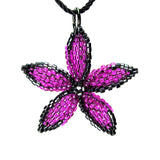 Heart in Hawaii Beaded Pua Pendant - Fuchsia with Bronze