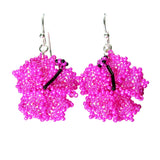 Heart in Hawaii Beaded Hibiscus Flower Earrings - Fuchsia