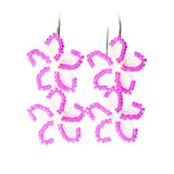 Heart in Hawaii Pua Iki Beaded Double Plumeria Earrings - Fuchsia with Pearly White