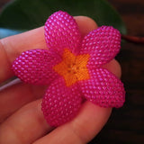 Heart in Hawaii 2 Inch Beaded Plumeria Flower Brooch - Fuchsia with Orange