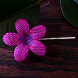 Heart in Hawaii 2.5 Inch Beaded Plumeria Flower - Fuchsia and Purple