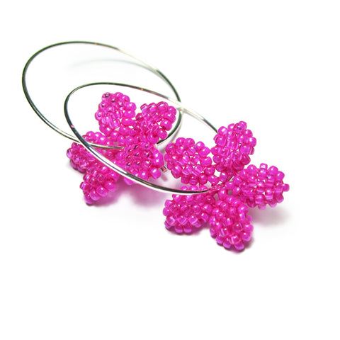 Heart in Hawaii Pua Kawaii Tiny Beaded Flower Hoops - Fuchsia Pink