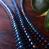 Temple Tree Boho Glass Bead Caterpillar Weave Bracelets - Galactic Blues