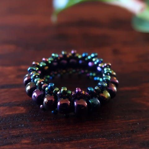 Temple Tree Bohemian Glass Bead Thumb Ring - Galactic
