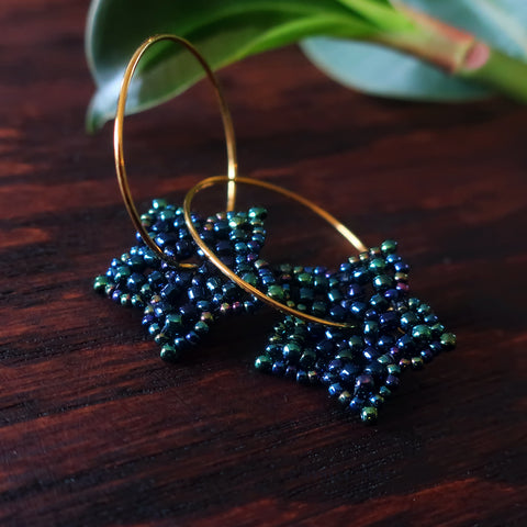 Temple Tree Mini-Flower Beaded Goldtone Hoop Earrings - Galactic Blue