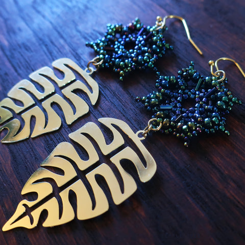 Temple Tree Dharma Wheel Beaded Earrings with Monstera Leaves - Galactic Blue