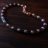 Temple Tree Bamboo Weave Beaded Bracelet - Galactic Blue Bugle with Rose Gold
