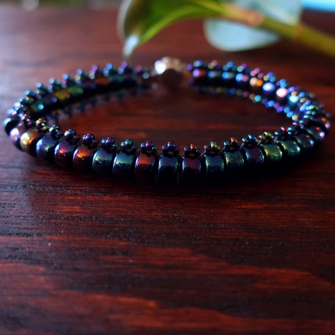 Temple Tree Boho Glass Bead Caterpillar Weave Bracelet - Galactic Blue