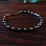 Temple Tree Bamboo Weave Beaded Bracelet - Galactic Blue witj bronze