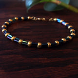 Temple Tree Bamboo Weave Beaded Bracelet - Galactic Blue Bugle with Gold