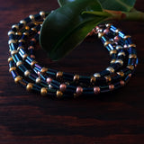 Temple Tree Bamboo Weave Beaded Bracelet - Galactic Blue Bugles