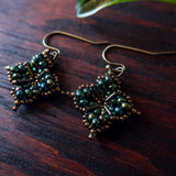 Temple Tree Quatrefoil Mandala Beaded Earrings - Galactic Green
