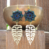 Temple Tree Dharma Wheel Beaded Earrings with Monstera Leaves