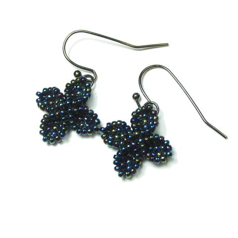 Heart in Hawaii Ixora Flowers - Tiny Beaded Quatrefoil Dangles in Galaxy Blue