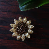 Heart in Hawaii Mini Beaded Sunflower Brooch - Sparkly Gold