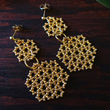 Heart in Hawaii Beaded Honeycomb Earrings
