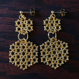 Heart in Hawaii Beaded Honeycomb Earrings - Metallic Gold