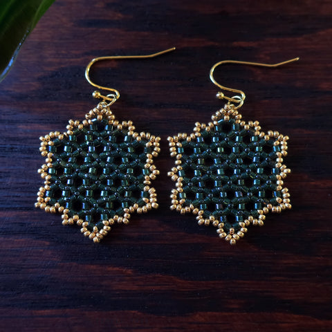 Temple Tree Hexagon Mandala Earrings - Gold-lined Green - Medium