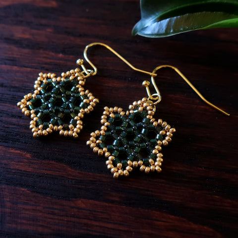 Temple Tree Hexagon Mandala Earrings - Gold-Lined Green - Tiny