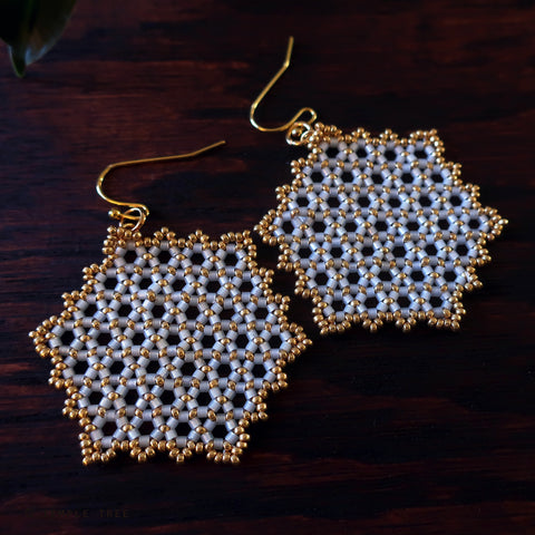 Temple Tree Hexagon Mandala Earrings - Gold-lined White - Large