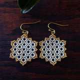 Temple Tree Hexagon Mandala Earrings - Gold-lined White - Medium
