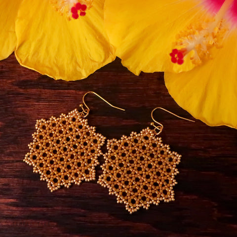 Temple Tree Hexagon Mandala Earrings - Gold-Lined Mango - Large