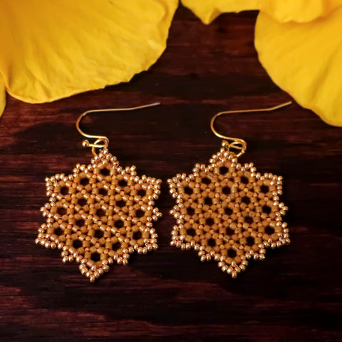 Temple Tree Hexagon Mandala Earrings - Gold-Lined Mango - Medium