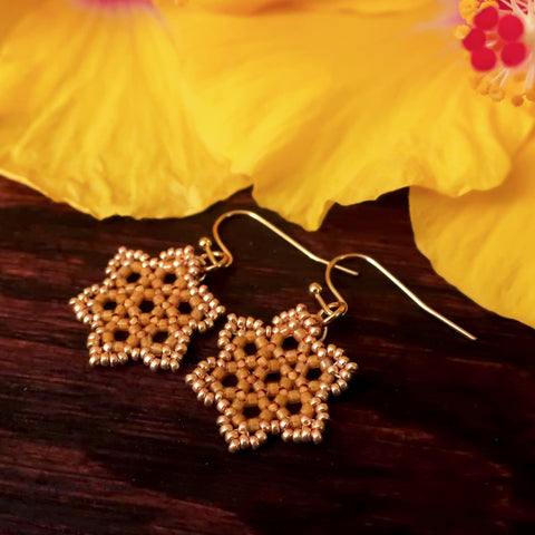 Temple Tree Hexagon Mandala Earrings - Gold-Lined Mango - Tiny