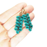 Heart in Hawaii Maile Inspired Beaded Leaf Vine Earrings - Bronze