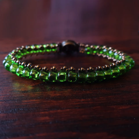 Temple Tree Boho Glass Bead Caterpillar Weave Bracelet - Green and Bronze