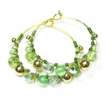 Heart in Hawaii Wire Wrapped Hoops - Green and Gold