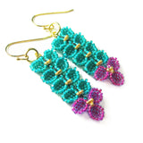 Heart in Hawaii Maile and Bougainvillea Beaded Earrings - Gold