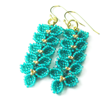Heart in Hawaii Maile Inspired Beaded Leaf Vine Earrings - Gold